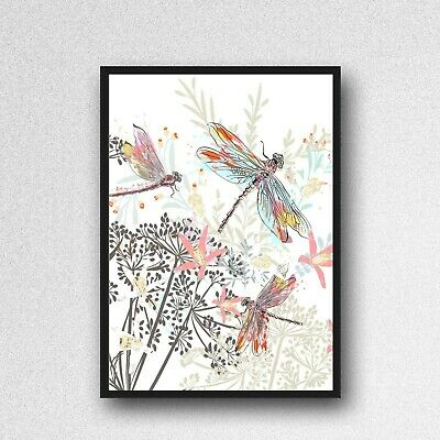 Dragonfly Print Picture Pink Poster UNFRAMED  A4 Bedroom Wall Decor Watercolour • 3.85£