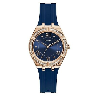 $ CDN101.43 • Buy Guess Rose Gold Bezel Crystals Blue Silicone Analog Women's Watch GW0034L4