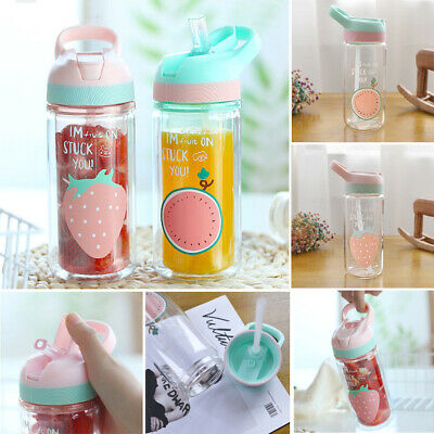 500ml Glass Water Bottle With Straw Leak Proof Portable Bottles For Kids Teens • 9.01£