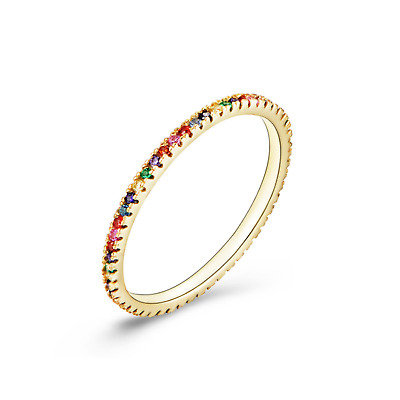 Sterling Silver Gold Tone Rainbow CZ Crystal Stacking Full Eternity Ring  • 11£