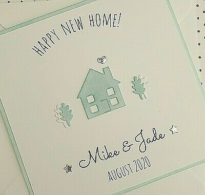 Personalised New Home Card - Handmade Moving House Card - Any Names/House Colour • 2.75£