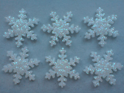 £3.95 • Buy 24 Glittery White Christmas Snowflakes - Edible Sugar Cake Decorations / Toppers