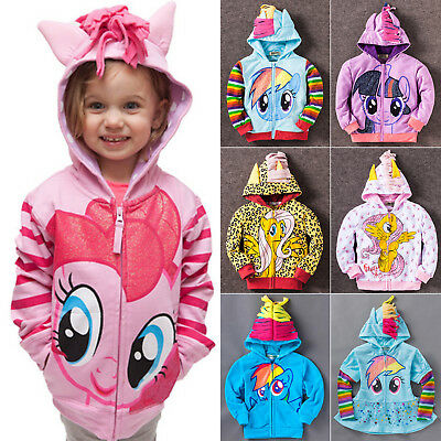 Boys Girls Kids My Little Pony Hoodie Wings Jacket Twilight Rainbow Dash Sweater • 11.49£