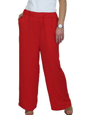 £5.99 • Buy Ladies High Waist Relaxed Leg Palazzo Lounge Casual Trousers Red 12-14 REPAIRED