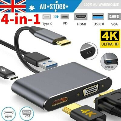 AU22.99 • Buy 4 In 1 USB Type C To HDMI 4K VGA USB 3.0 PD Video Adapter MacBook/Laptop/Phone