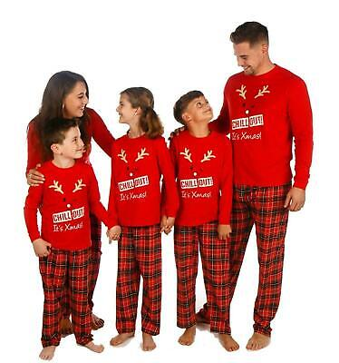 Family Christmas Pyjamas Matching For Mum Dad Teens Kids 'Chill Out Its Xmas' • 9£