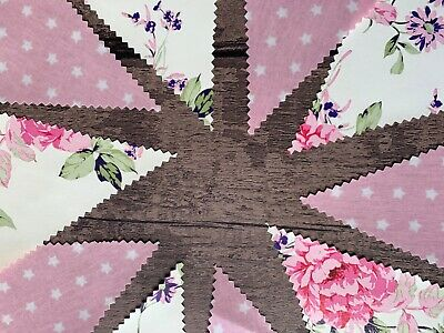 £9.50 • Buy Outdoor Bunting Oilcloth Handmade Garden Party Pink Vintage Rose Stars