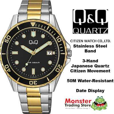 $ CDN57.83 • Buy Qq Citizen Made A172j412 50 Metres Water Resist Gents Divers Style With Date