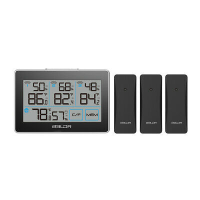 $29.95 • Buy BALDR B0317 Digital Wireless Indoor/Outdoor Thermometer Hygrometer W/ 3 Sensors