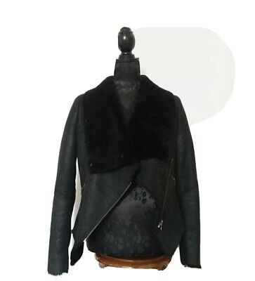 AU650 • Buy SCANLAN AND THEODORE || Leather Shearling Jacket Size 10 Black