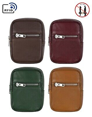 Genuine Leather Cigarette Case With RFID Blocking Card Pocket Belt Loop Pouch • 5.99£