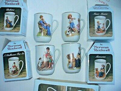 $ CDN32.94 • Buy  Norman Rockwell Coffee Cups Mugs Vintage 24K Trim Set Of 4 Museum Collection