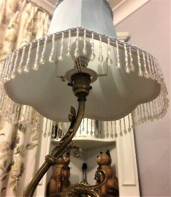 PAIR Lined Lampshade + Glass Trim - Suit Bedside Table Lamp - Blue • 30£