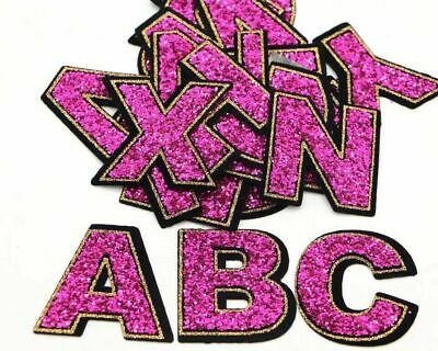 £1.69 • Buy Pink Seq Letter Patch Patches Iron On Sew On Retro Alphabet Embroidery Clothes