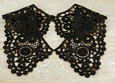 Lace Collar, Drama Vintage Period Guipure ,Sewn On Dressmaking LC62, Black • 3.50£