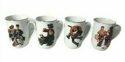 $ CDN23.73 • Buy Vtg Norman Rockwell Coffee Mugs Cups Lot Of 4 Gold Trim, Hobo, Park Bench EEUC