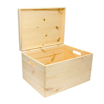 Large Storage Box With Handles, Keepsake Box, Wooden Memory Box With Lid • 16.50£