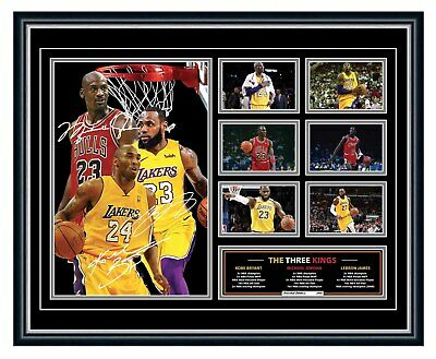 AU99.99 • Buy Michael Jordan, Kobe Bryant & Lebron James Three Kings Signed Framed Memorabilia