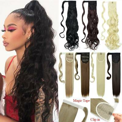 £6.99 • Buy UK Thick Wrap Around Ponytail Hair Extensions Clip In Pony Tail Curly As Human