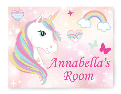 Personalised Unicorn Door Plaque Wooden Sign Girls Bedroom With 3m® Sticky Pads • 6.99£
