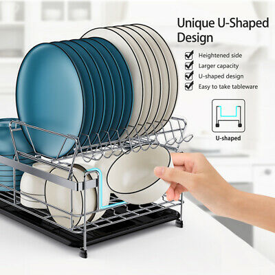 AU41.59 • Buy 2Tier Dish Rack Drainer Drying Tray Cutlery Holder Utensil Caddy For Kitchen VIC