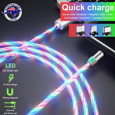 AU10.95 • Buy LED Flowing Light 360 Magnetic Fast Charger 2m Cable Android TypeC Micro USB IOS