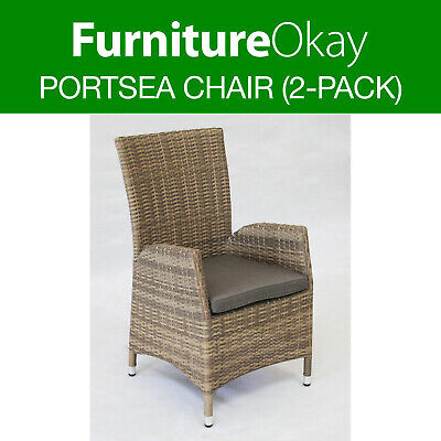 AU189 • Buy Portsea Wicker Rattan Outdoor Dining Chair Patio Garden Furniture Soft Taupe