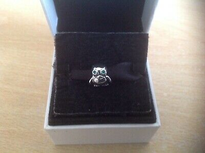 S925 Sterling Silver Plated Baby Owl With Green Eyes Bead Charm 100  • 3£
