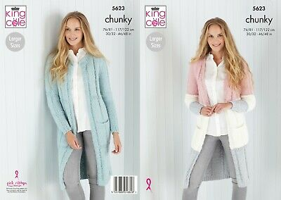 Ladies Long Cardigan Knitting Pattern For Chunky Yarn Sizes 30-48 King Cole 5623 • 2.95£