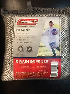 $9.64 • Buy Coleman Eva Poncho Youth Clear Universal Size Hooded Rain Defense Side Snaps New