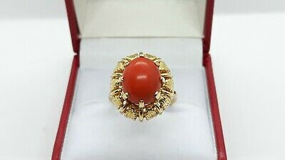 18ct Yellow Gold Natural Coral Ring, Unique Design • 895£