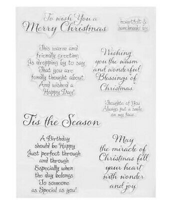 7 Christmas Messages Clear Stamps/xmas/birthday Sentiments Words Statements Card • 5.25£