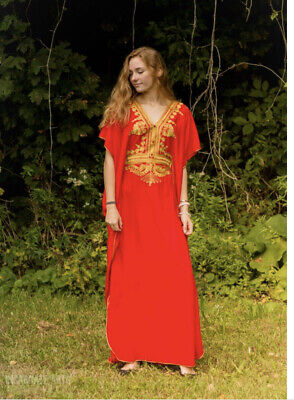 AU45.14 • Buy Red Moroccan Abaya Kaftan Cotton Maxi Dress With Gold Embroidery One Size