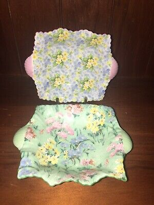 Shelley - Chintz Pin Dishes, Melody & Primrose. Mint Condition • 32.99£