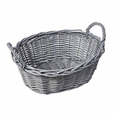 Handmade Wicker Oval Storage Gift Hamper Basket With Handles, White Or Grey • 8.99£