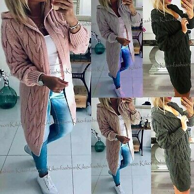 Womens Ladies Chunky Cable Knitted Oversized Longline Hooded Cardigan Cape Top • 21.95£