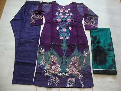 £25 • Buy  Maria B Design Linen Embroidered Salwar Kameez Stitched With Wool Shawl Winter