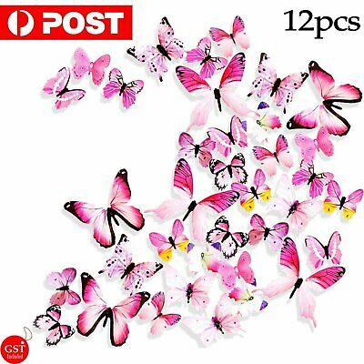 AU4.25 • Buy 12pc 3D 3D DIY Wall Decal Stickers Butterfly Home Room Art Decor Decorations