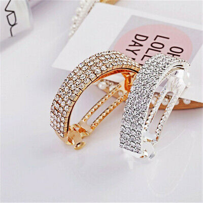 Shiny Women Barrettes Hair Clips Pins Crystal Ponytail Holder Hairpin Headwear • 2.35£