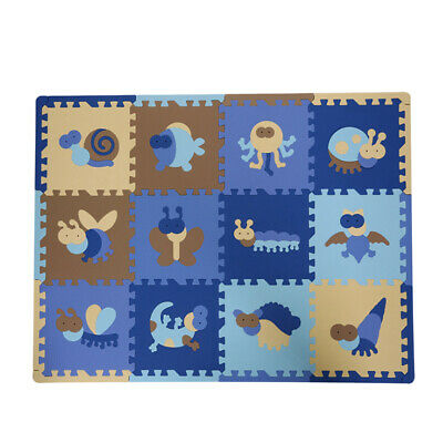 12Pcs Safe Floor Mat  Flooring Tiles For Kids Playroom Insect #1 • 23.13£