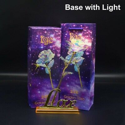 AU16.79 • Buy 24K Gold Plated Foil Galaxy Rose Crystal Mother's Valentine's Day Gift Love Base
