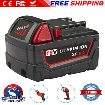 AU42.99 • Buy For Milwaukee M18B5 18v 5.0ah LITHIUM-ION Slide Battery - GENUINE AU Stock RED