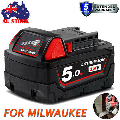 AU42.99 • Buy 5.0AH M18B5 For MILWAUKEE M18 18V XC Lithium Battery 48-11-1828-Genuine AU Stock