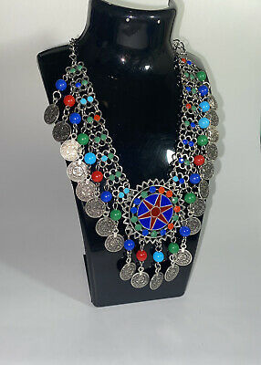 £7.99 • Buy Colourful Afghan Coin Necklace With Beads Tribal Jewellery