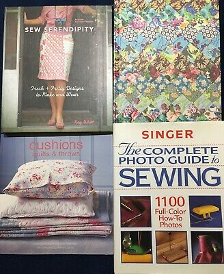 Sewing Book Bundle Of 4 Books - Quilts/ Cushions/ SINGER / Sew Serendipity/Craft • 16£