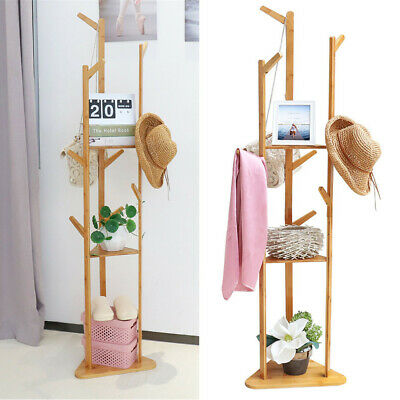 £26.94 • Buy Bamboo Clothing Rack Hat Coat Stand Clothes Shoe Bag Hanger Hooks With Shelves