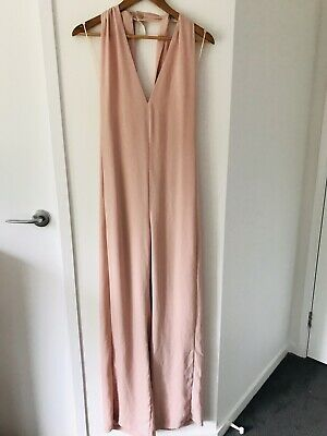 AU29 • Buy ZARA BASICS Size M Dusky Pink Long Leg Halter Neck Jumpsuit Made In Morocco