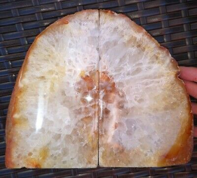 Stunning Heavy Large Orange Dyed Agate Geode Bookends Healing Crystal • 41.99£