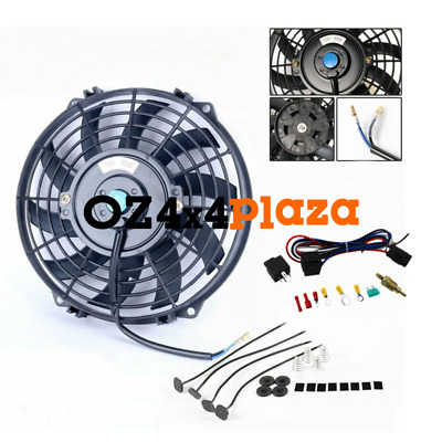 AU64 • Buy 12v 9 Fan+mounting Kit+relay Pull/push Radiator Electric Thermo Cueved Blade Fan