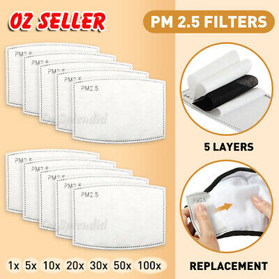 AU10.99 • Buy PM2.5 Face Mask Filter For Adult  Anti Pollution Filters Pad 5 Layers AU NOW